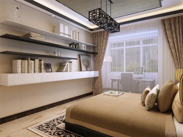 主卧室没有复杂的吊顶,以吊灯和筒灯为照明光源。整体以冷暖结合的简洁装饰手法诠释现代混搭风格的意义。
