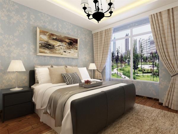 卧室的面积比较大,床选择了纯色的,有一点小小造型的,电视柜的造型是硬线条的效果,挂画和客厅的大相径庭,突出中心,衣柜选择简单的简洁的,适度的装饰是家居不缺乏时代气息。