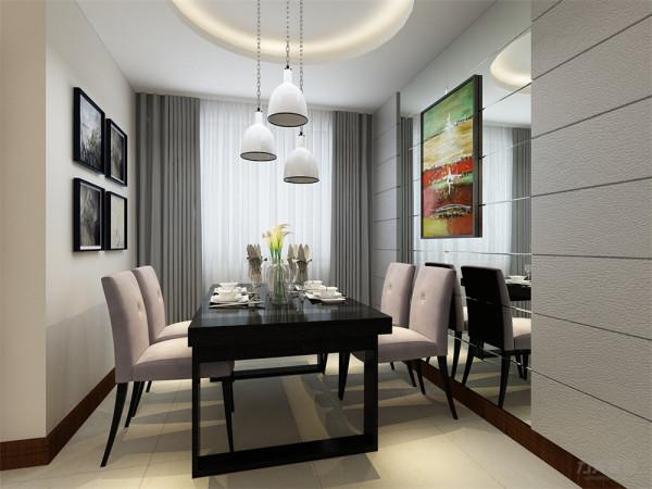 餐厅采用圆形吊顶,餐厅吊灯与客厅相呼应,餐厅背景墙安装玻璃反光造型,增加空间内采光,凸显时尚元素。地面铺装浅黄色花纹地砖,避免空间过于单调。