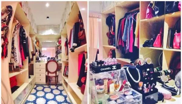 屋主将主卧里面的卫生间改造成了衣帽间,两侧柜子的分隔都是屋主按照衣服的长度细细推敲出来的,地面也配了一块她最心仪的孔雀蓝底非洲菊花色地毯。