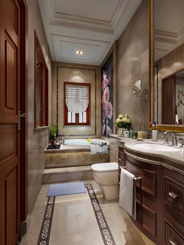 卫生间通过天然材料和绿色植物的运用,搭配墙壁上的马赛克点缀,让整个卫浴空间环境散发着强烈的美式小田园风格,心灵享受彻底的纯净。
