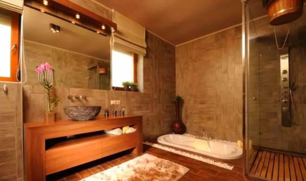 卫生间    墙面以防腐木为主,呼应了东南亚的特色,深色主打系列