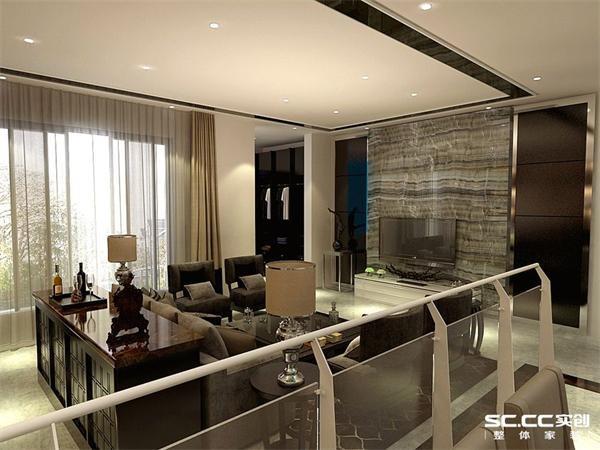 客厅电视背景墙整体石材花纹非常大气,虽简单而不失高贵。客厅吊顶极简即可,更多突出在软装配饰上。