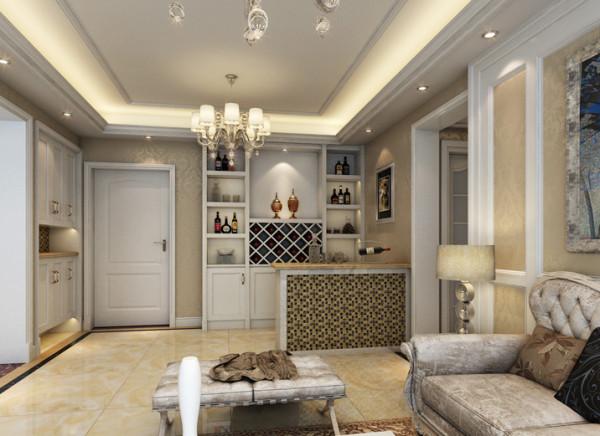 门厅是停留最短的空间,但是一个必不可少的区域也是一个展示的空间。 亮点:因没有单独的餐厅,故把门厅和吧台设计成一个整体空间!在空间功能格局划分上做了分区,但还是运用原本格局包括风格和客厅相呼应。