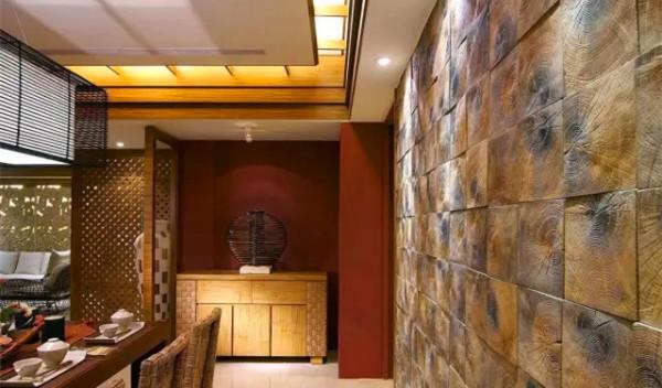 餐厅   背墙以方形石材拼贴而成,其不经刻意修饰的木石纹理,粗犷中蕴含细腻的岁月痕迹。