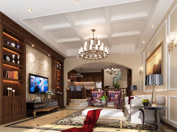 整个空间以深咖色木质搭配玫瑰金的家具为主,既有展示功能又兼具实用功能,柔和的色彩搭配加上棉麻的布艺抱枕更给人温馨效果,带来空间以厚重的感觉,又比较温馨、舒适。