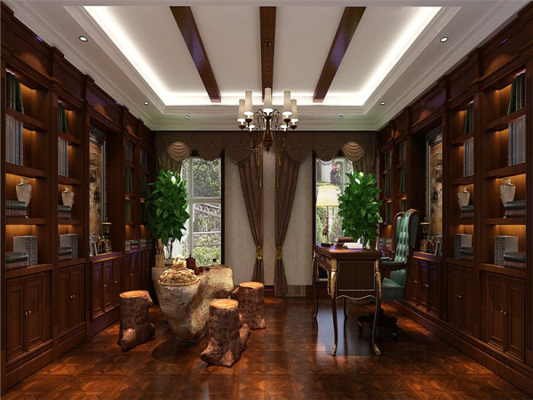 地下书房:书房是整套居室中最安静的一个空间,多抽屉的书桌设计提供了更多的收纳空间。
