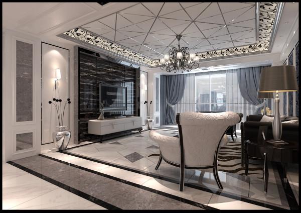 直线吊顶增加了金属条与壁纸,增加了整个空间的层次感。地面波导线巧妙地划分了每一个空间与布局。不规则的拼花砖使客厅空间增加了立体生动的感觉。石材与镜面的结合,增加了感官硬质效果。