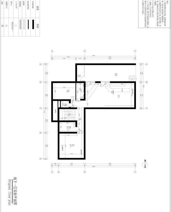 生活家装饰--渡上依水500平米独栋别墅美式乡村地下一层原始平面图