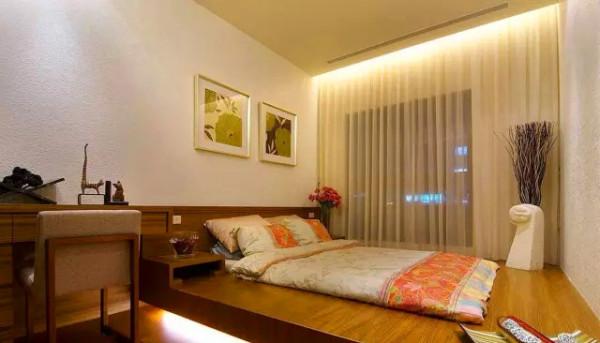 卧室 以架高的木地板为床架,随兴地摆放简易的床组,营造出日式卧房自在的舒压情调。