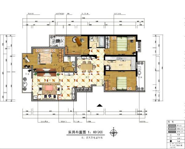 生活家装饰--韦伯豪家园130平米简欧风格平面布置图