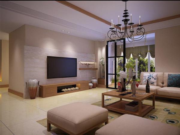 通铺大地砖,电视墙采用大理石,吊顶要有参差感。