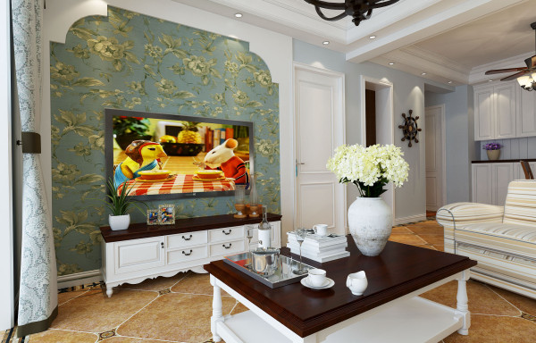 中原工学院美式设计-君子兰装饰 电视背景墙