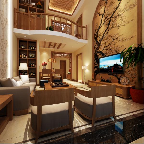 生活家装饰--金色漫香林130平米新中式风格客厅装修效果图