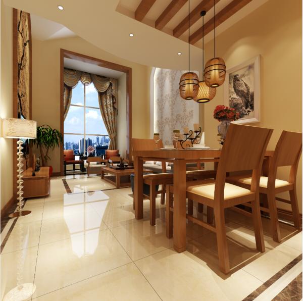 生活家装饰--金色漫香林130平米新中式风格餐厅装修效果图