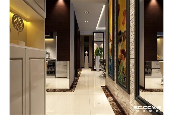 客厅过廊用长幅中式画装点,与主题相呼应。