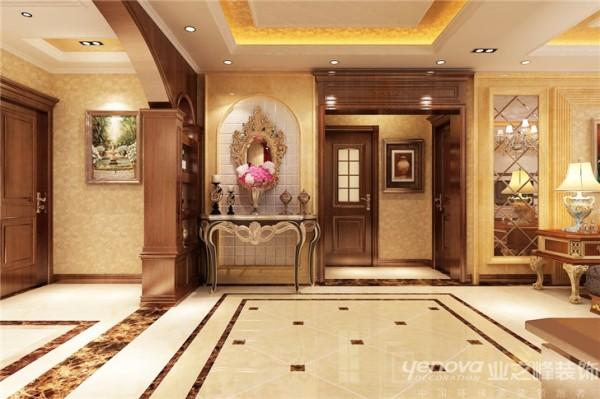 """地面大面积铺贴暖色系地砖,颜色柔和,木做深色为主,墙面暖黄色系壁纸做过渡色,营造自然,典雅,高贵的气质,浪漫的情调是本案的主体. 美式风格继承了传统欧式风格的装饰特点,吸取了其风格的""""形神""""特征,"""