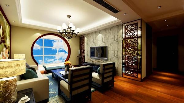 如意花园中式设计-君子兰装饰 客厅效果