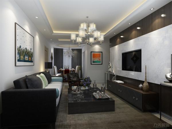 电视背景墙采用了很多现代的设计元素,采用大理石背景墙完美诠释了现代风格,简单大方。地毯与前面形成鲜明对比。沙发后面挂一副现代画使其更有风格感。