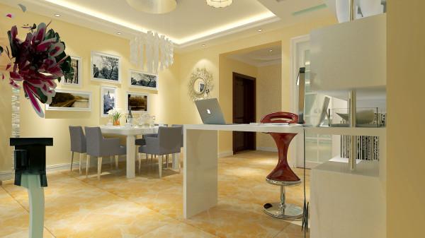 如意花园140平现代简约设计-君子兰装饰 吧台