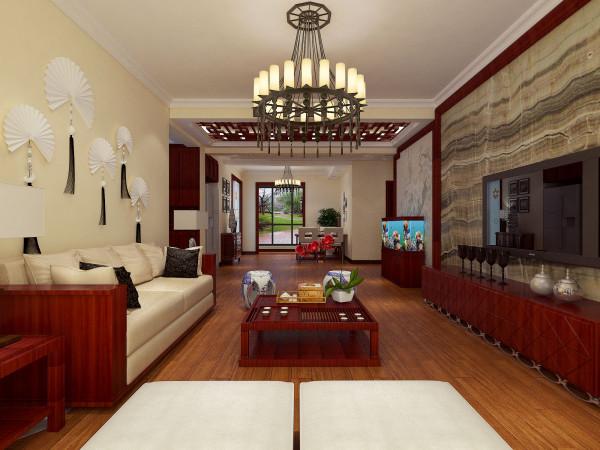 济源联盟新城简约中式设计-君子兰装饰 客厅效果