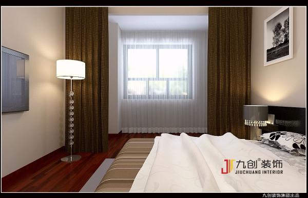 创意卧室背景  卧室床头用的是咖色的软包设计,搭  配和谐的软装达到了功能与形式的完  美统一、简洁明快、时尚而不浮躁