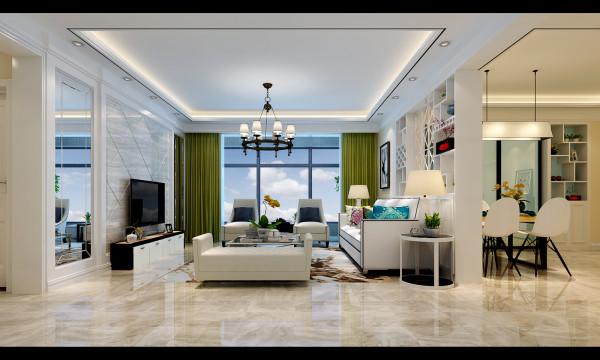 如意花园160平现代简约设计-君子兰装饰 客厅效果
