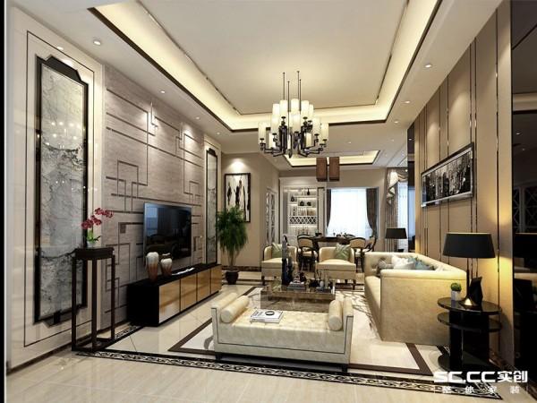 客厅空间层次分明,错落有致,融合了庄重和优雅双重气质。电视背景墙以大理石为基调,外秀慧中的大理石天然纹路,