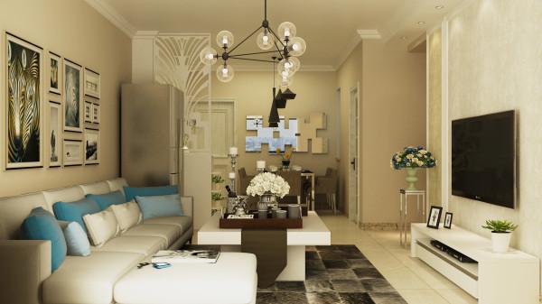 永恒理想世界现代简约设计-君子兰装饰 客餐厅效果