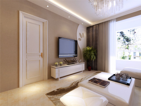 客厅电视背景墙面颜色米灰色,石膏板曲线造型,弧度优美,色彩柔和,温馨浪漫,背景墙面上方的吊棚与餐厅直接贯穿,采用暖色灯带,衬托温馨感觉,筒灯局部照明,实用性极佳。