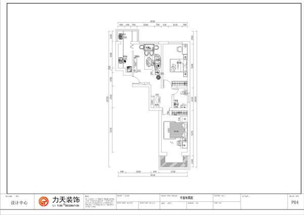 从入户门入,正对着的是一个较大的空间,是一个客厅的设计,客厅的左边是一个厨房的位置。