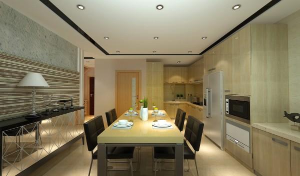 餐厅和厨房的融合,韩式装饰最大的特色就是通过细节展示品质,无数个高品质的细节融合在一起就是韩式装饰。使用石材和大量木色橱柜, 空间装饰多采用简洁、硬朗的直线条 ,反映出现代人追求简单生活的居住要求,