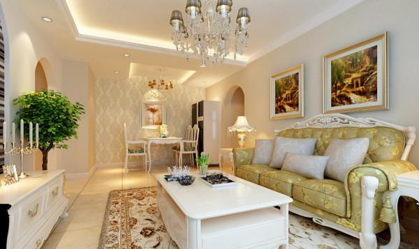 客厅设计以田园、简约、浪漫为主基调,设计中运用典型的欧式捲拱造型哑口,时尚典雅的背景墙。配以简约的条形壁纸,加之时尚水晶灯点睛之笔,使整体风格体尽显淋漓尽至之感。
