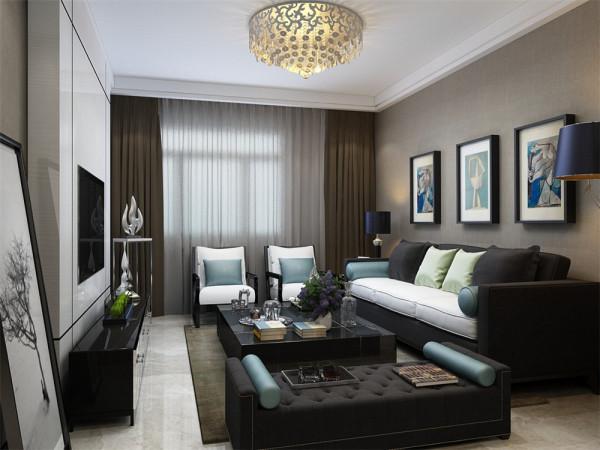 客厅的深色沙发让空间有落地感,白色石膏板的电视背景墙,用线条阐释了现代简约风格的特点,而在沙发背景墙挂上了有趣的现实主义的挂画,体现了主人的艺术感。