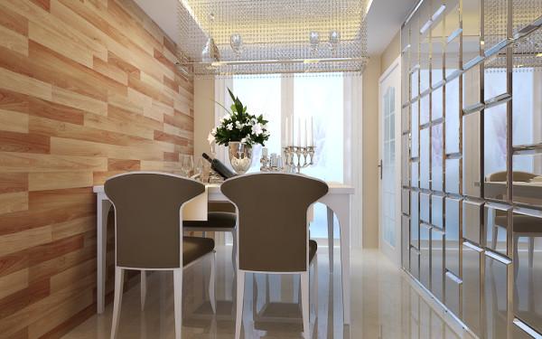 餐厅开间小,采用巧克力式灰色镜面来做造型墙,美观时尚的同时又从视觉上解决了开间小的问题.