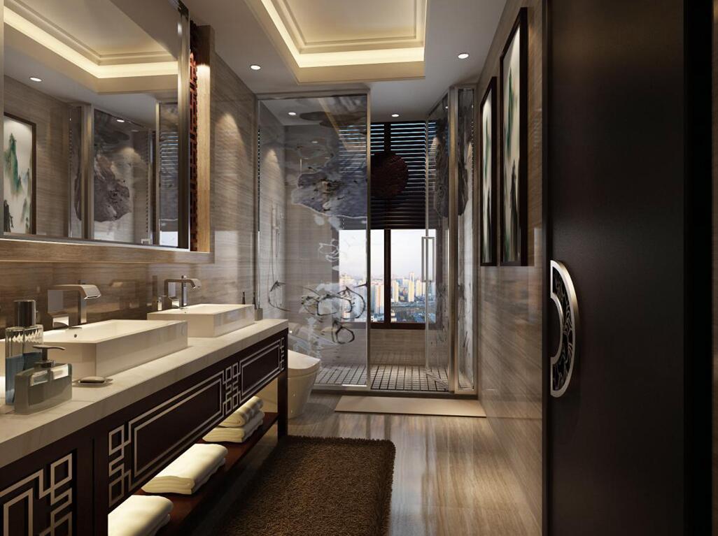 别墅 北京院子 别墅装修 新中式 卫生间图片来自别墅装修设计--hy在