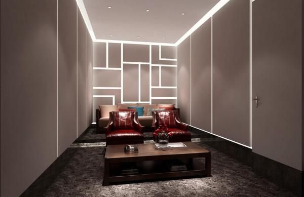 房间内的反光灯槽营造出另一个三维空间。