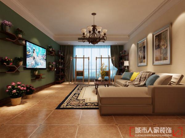 中建国熙台168㎡现代美式风格 客厅效果