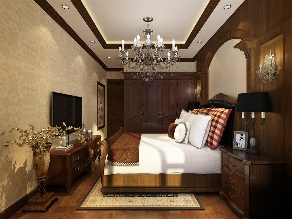 装修效果图 主卧配有卫生间,主卧的采用浅黄色壁纸,床头背景墙为美式