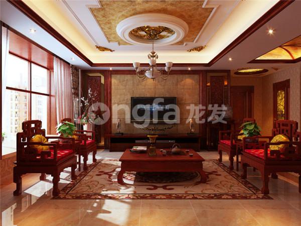 极具中式风格的客厅设计,客厅座椅沙发的运用无一不彰显客户对中式风格的喜爱之情,电视背景墙和桌椅吊顶的运用整体看来更彰显大气。