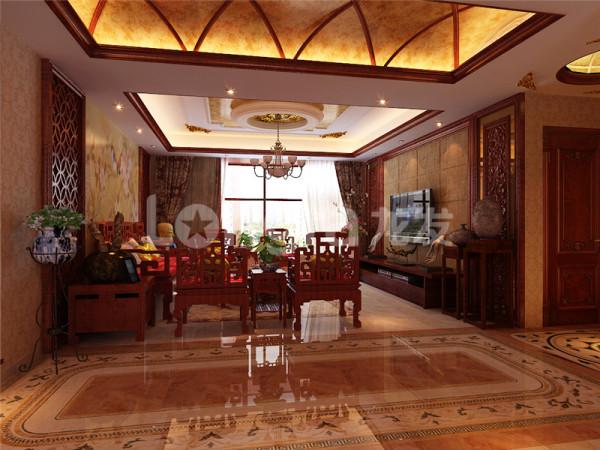 客厅全貌,瓷砖大理石的运用让整个设计感觉更加硬朗,通透的落地窗设计使房间内部更加明亮,反光等各方面解决了一部分采光不好的问题。