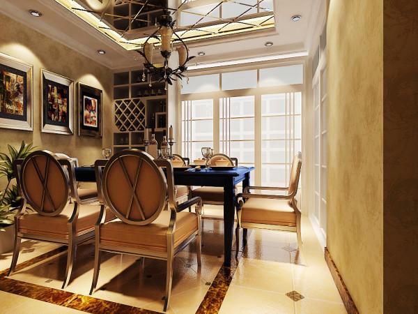 餐厅地面采用了同样的手法,凸显了华贵的餐桌!天花以些许的层次与线板,搭配柜体、立面的线板造型,围塑一室的欧式况味