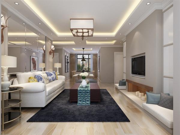 客餐厅地面同样采用复合木地板,客厅的顶部采简约回字形吊顶,给整个空间营造一种纯洁之感,又不失造型感。客厅的左侧为主卧室,墙面通贴壁纸,为空间营造出一种素净温馨的气氛。