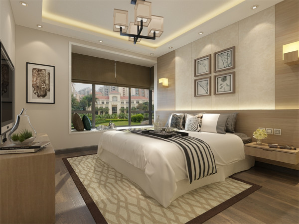 客厅的左侧为主卧室,墙面通贴壁纸,为空间营造出一种素净温馨的气氛。主卧室的上面为卫生间,卫生间的墙体采用大理石贴砖。卫生间的上面为次卧室,墙面同样采用浅色壁纸。