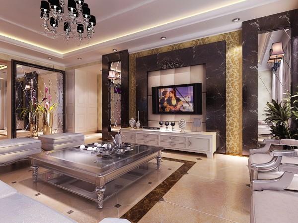 客厅电视背景墙用条形的处理手法,使纵向空间在视觉上得到了延伸,同时镜面的运用增强了空间的开阔性!地板的小点缀拼花,色调从硬装到家具搭配都是比较成熟稳重。