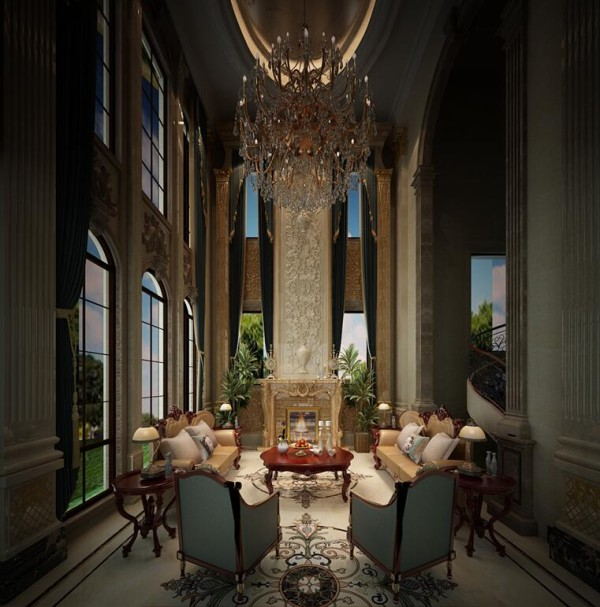 别墅6米高窗帘效果图