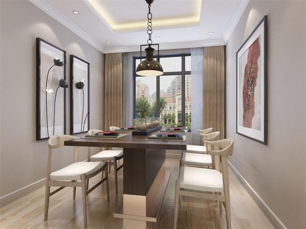 餐厅地面同样采用复合木地板,顶部采用回型吊顶。