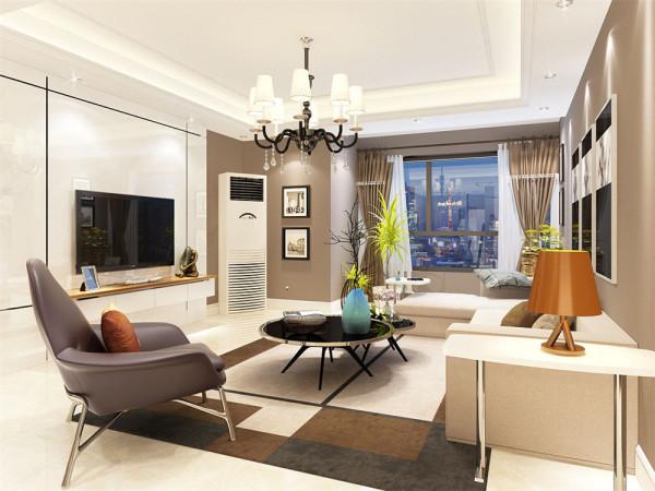 整个空间采用咖色墙面乳胶装饰,采用了白色石材墙做电视墙和咖色相结合形成简洁鲜明的对比。沙发墙的设计采用挂画做简单的装饰。素色的沙发和灰色皮椅做搭配,配合整体的咖色,营造了现代都市的氛围。