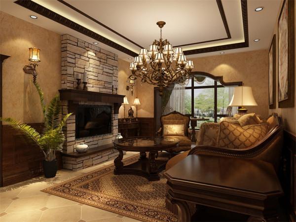 客餐厅整体空间配有深色实木墙裙,电视背景墙采用石材贴纸装饰。整体设计给人高档奢华,温馨舒适的感受。地面采用地砖,墙面铺装大理石,方便收拾又很美观。
