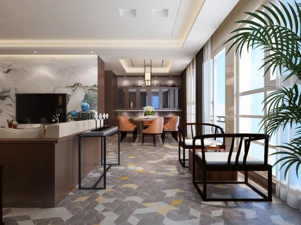 深色的木质墙面,白色简洁的餐桌,时尚前卫的餐边,简简单单的设计却完全贴近人们的生活需求,橙色的餐椅与造型独特的石材地面相呼应,无疑将整个空间点亮.再加上一些小装饰,让用餐区域也是如此活力。